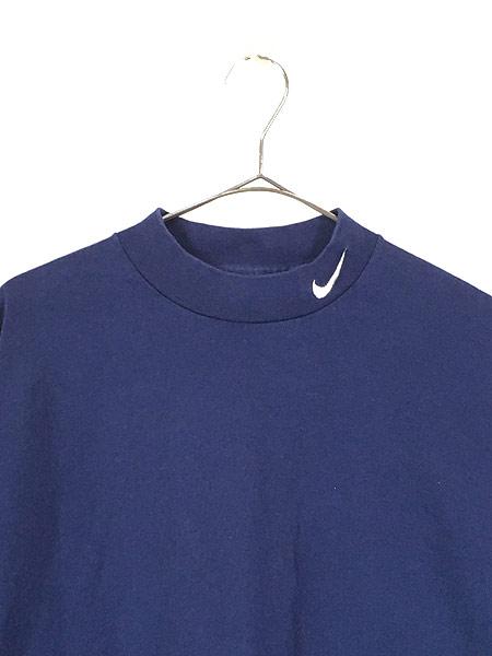 [2] 古着 90s USA製 NIKE スウォッシュ ワンポイント ハイネック ロング スリーブ Tシャツ ロンT 紺 XL 古着