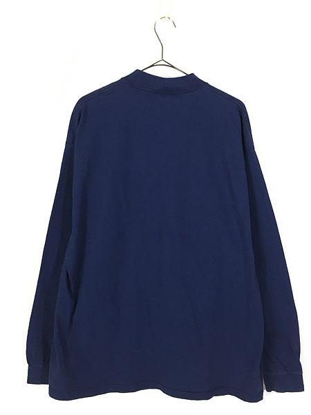 [3] 古着 90s USA製 NIKE スウォッシュ ワンポイント ハイネック ロング スリーブ Tシャツ ロンT 紺 XL 古着