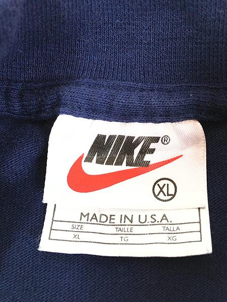 [5] 古着 90s USA製 NIKE スウォッシュ ワンポイント ハイネック ロング スリーブ Tシャツ ロンT 紺 XL 古着