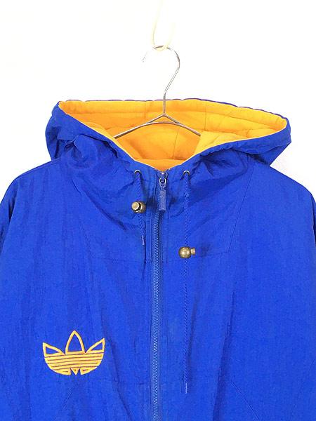 [2] 古着 90s adidas BIG ロゴ & トレフォイル バイカラー パデット フーデッド ジャケット パーカー L 古着