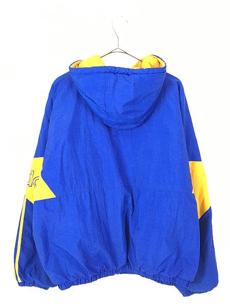 [3] 古着 90s adidas BIG ロゴ & トレフォイル バイカラー パデット フーデッド ジャケット パーカー L 古着