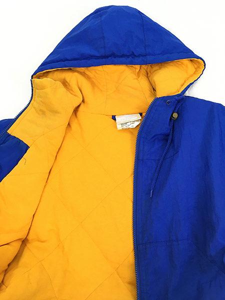 [4] 古着 90s adidas BIG ロゴ & トレフォイル バイカラー パデット フーデッド ジャケット パーカー L 古着