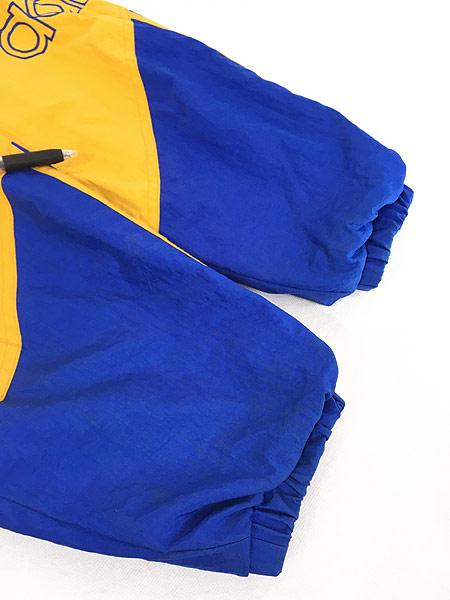 [6] 古着 90s adidas BIG ロゴ & トレフォイル バイカラー パデット フーデッド ジャケット パーカー L 古着