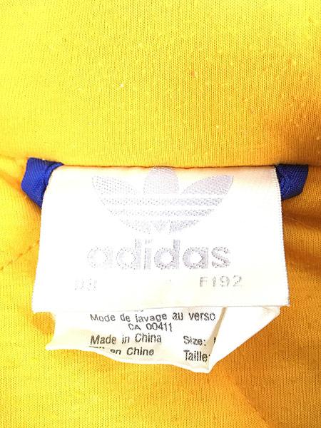 [7] 古着 90s adidas BIG ロゴ & トレフォイル バイカラー パデット フーデッド ジャケット パーカー L 古着