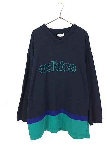 [1] 古着 90s adidas トレフォイル BIG 刺しゅう Vネック ロング スリーブ カットソー ロンT XL位 古着