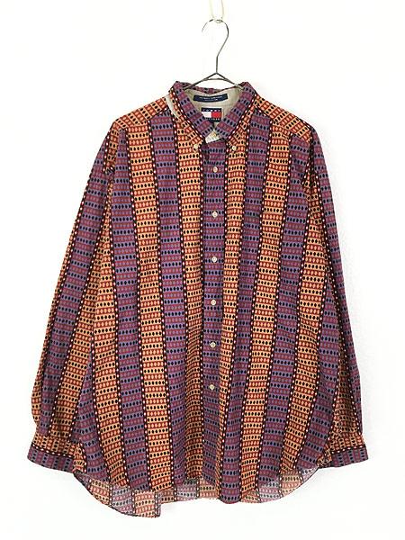 [1] 古着 90s TOMMY HILFIGER トミー アーガイル 総柄 ストライプ コットン BD シャツ XL 古着