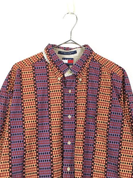 [2] 古着 90s TOMMY HILFIGER トミー アーガイル 総柄 ストライプ コットン BD シャツ XL 古着