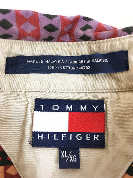 [5] 古着 90s TOMMY HILFIGER トミー アーガイル 総柄 ストライプ コットン BD シャツ XL 古着