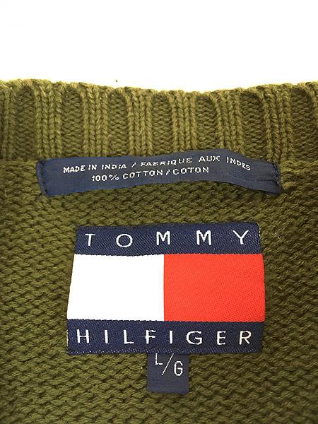 [5] 古着 90s TOMMY HILFIGER トミー ネオン クレイジー 前V コットン ニット セーター L 古着