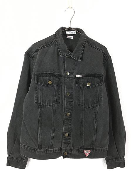 [1] 古着 90s USA製 GUESS ゲス ブラック デニム ジャケット Gジャン L 古着