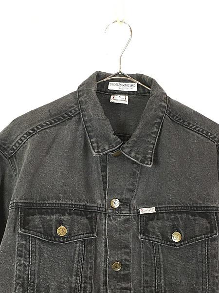 [2] 古着 90s USA製 GUESS ゲス ブラック デニム ジャケット Gジャン L 古着