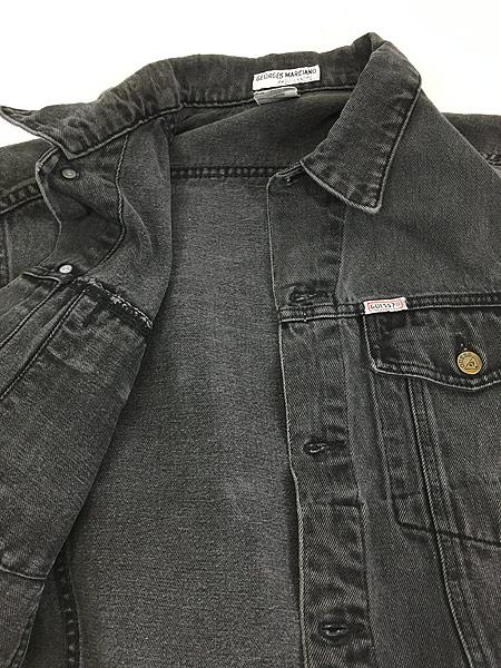 [5] 古着 90s USA製 GUESS ゲス ブラック デニム ジャケット Gジャン L 古着