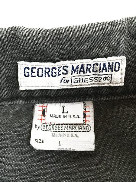 [6] 古着 90s USA製 GUESS ゲス ブラック デニム ジャケット Gジャン L 古着