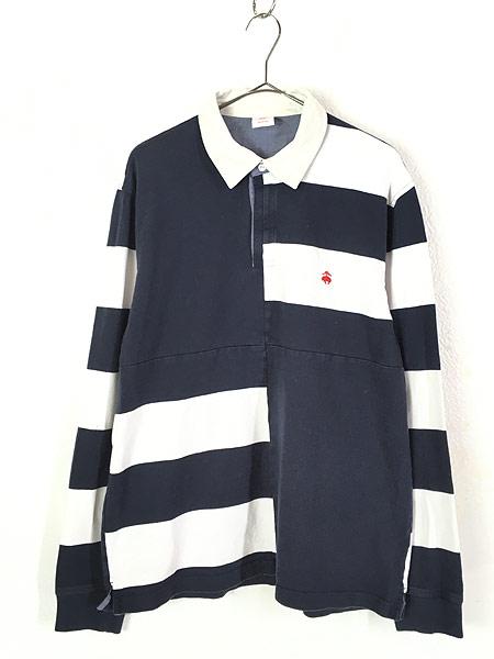 [1] 古着 Brooks Brothers ボーダー 切替 コットン ラグビー ラガー シャツ XL 古着