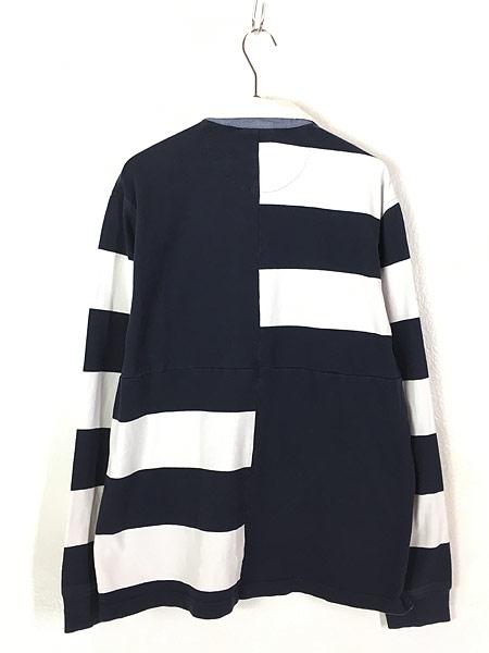 [3] 古着 Brooks Brothers ボーダー 切替 コットン ラグビー ラガー シャツ XL 古着