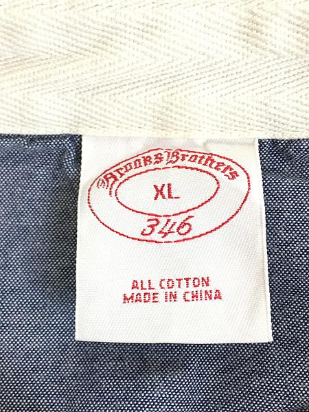 [5] 古着 Brooks Brothers ボーダー 切替 コットン ラグビー ラガー シャツ XL 古着