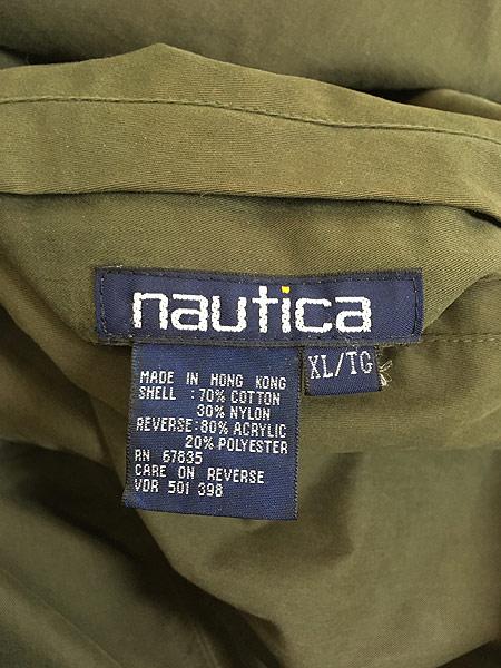 [8] 古着 90s Nautica もこもこ チェック フリース リバーシブル ジャケット XL 古着