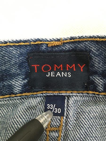 [7] 古着 90s USA製 TOMMY JEANS トミー インディゴ デニム パンツ ジーンズ テーパード W33 L30 古着