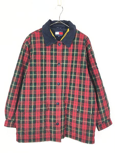 [1] 古着 90s TOMMY HILFIGER トミー チェック コットン シェル キルティング パデット ジャケット コート XL 古着