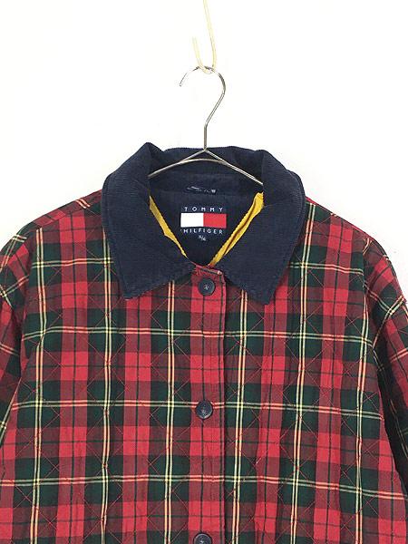 [2] 古着 90s TOMMY HILFIGER トミー チェック コットン シェル キルティング パデット ジャケット コート XL 古着