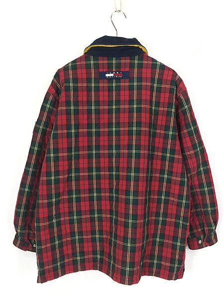 [3] 古着 90s TOMMY HILFIGER トミー チェック コットン シェル キルティング パデット ジャケット コート XL 古着