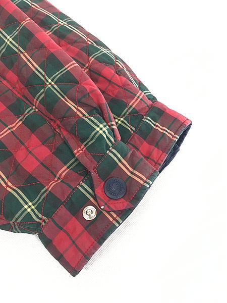 [4] 古着 90s TOMMY HILFIGER トミー チェック コットン シェル キルティング パデット ジャケット コート XL 古着
