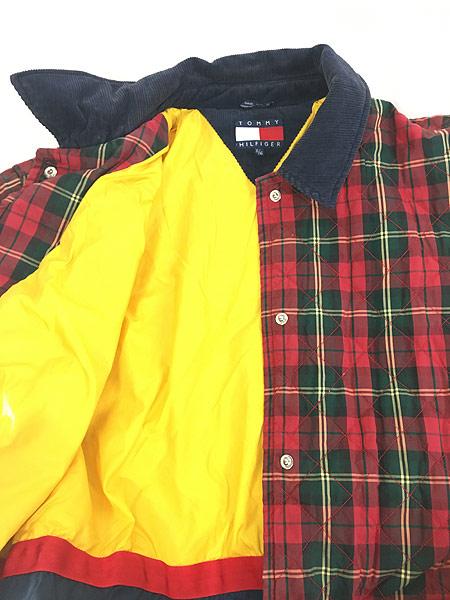 [5] 古着 90s TOMMY HILFIGER トミー チェック コットン シェル キルティング パデット ジャケット コート XL 古着
