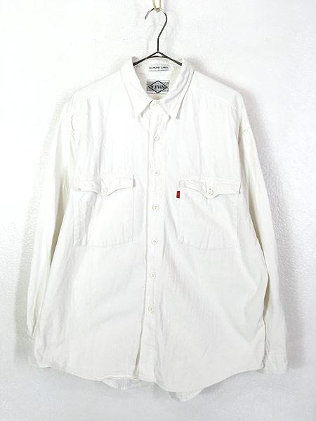 [1] 古着 90s Levi's 「DIAMOND LABEL」 ホワイト コットンツイル シャツ L 古着