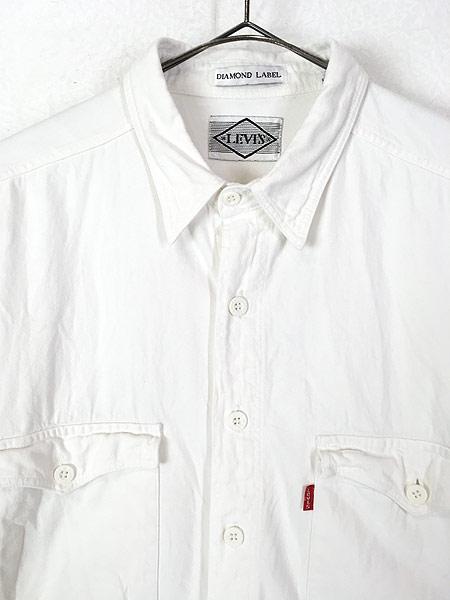[2] 古着 90s Levi's 「DIAMOND LABEL」 ホワイト コットンツイル シャツ L 古着