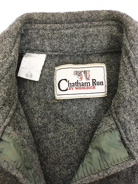 [6] 古着 80s USA製 Chatham Run by WoolRich 本革 パッチ ウール マッキーノ シャツ ジャケット S位 古着