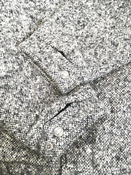 [4] 古着 80s USA製 WoolRich 比翼 ごま塩 ウール ボア ジャケット ブルゾン L 古着