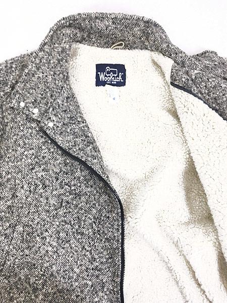 [5] 古着 80s USA製 WoolRich 比翼 ごま塩 ウール ボア ジャケット ブルゾン L 古着