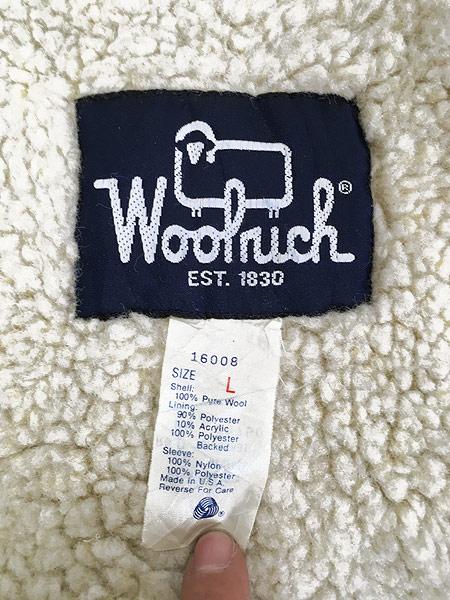[6] 古着 80s USA製 WoolRich 比翼 ごま塩 ウール ボア ジャケット ブルゾン L 古着