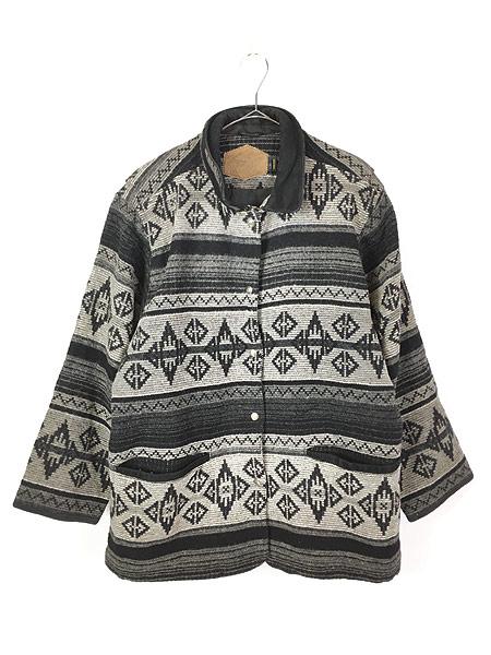 [1] 古着 80s USA製 WoolRich 本革 レザー襟 ネイティヴ チマヨ 総柄  ウール ブランケット ジャケット L 古着