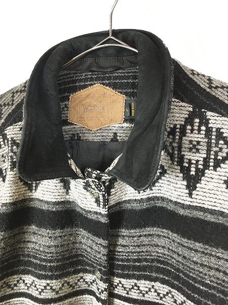 [2] 古着 80s USA製 WoolRich 本革 レザー襟 ネイティヴ チマヨ 総柄  ウール ブランケット ジャケット L 古着