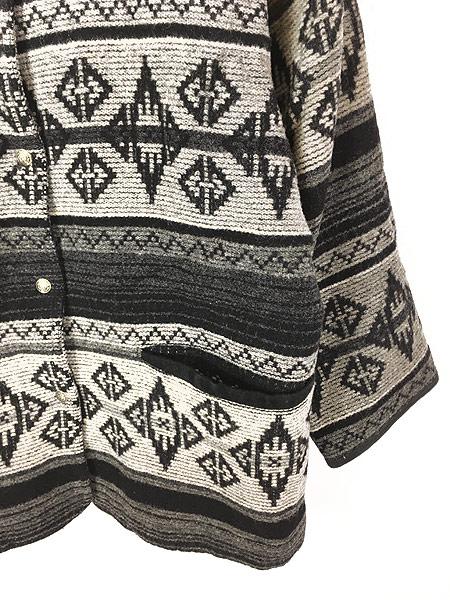 [3] 古着 80s USA製 WoolRich 本革 レザー襟 ネイティヴ チマヨ 総柄  ウール ブランケット ジャケット L 古着