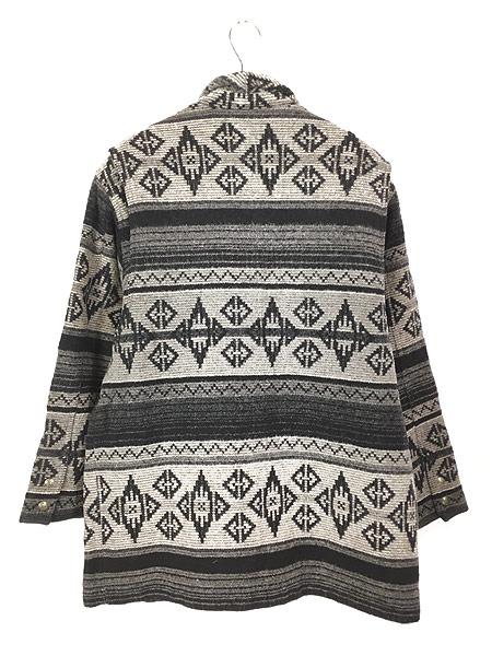 [4] 古着 80s USA製 WoolRich 本革 レザー襟 ネイティヴ チマヨ 総柄  ウール ブランケット ジャケット L 古着