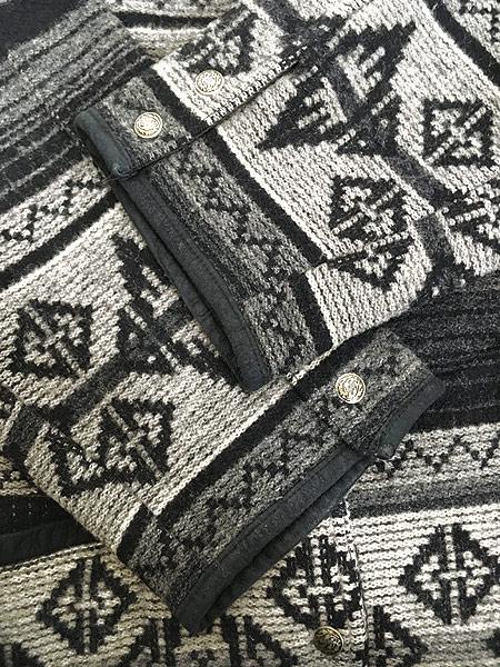 [5] 古着 80s USA製 WoolRich 本革 レザー襟 ネイティヴ チマヨ 総柄  ウール ブランケット ジャケット L 古着