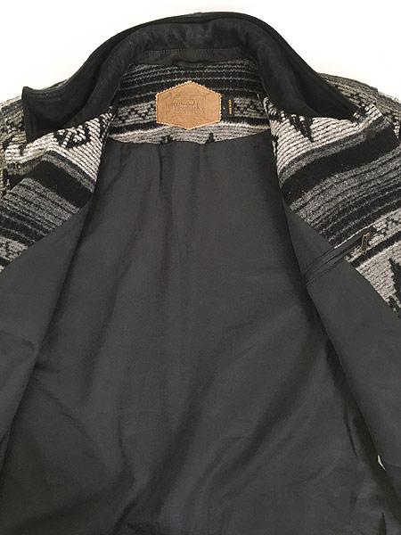 [6] 古着 80s USA製 WoolRich 本革 レザー襟 ネイティヴ チマヨ 総柄  ウール ブランケット ジャケット L 古着