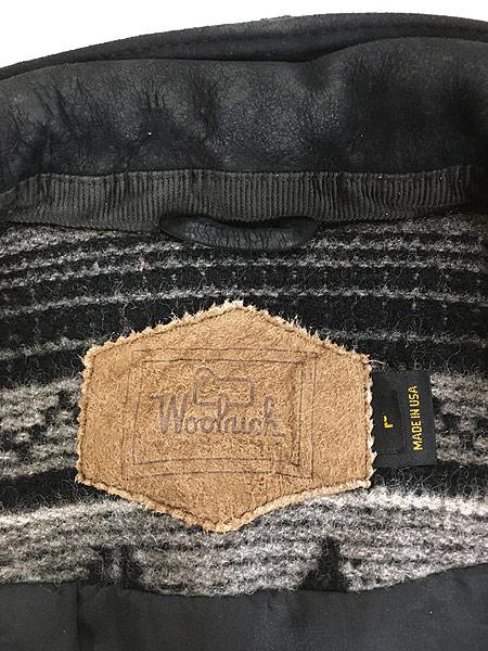 [7] 古着 80s USA製 WoolRich 本革 レザー襟 ネイティヴ チマヨ 総柄  ウール ブランケット ジャケット L 古着