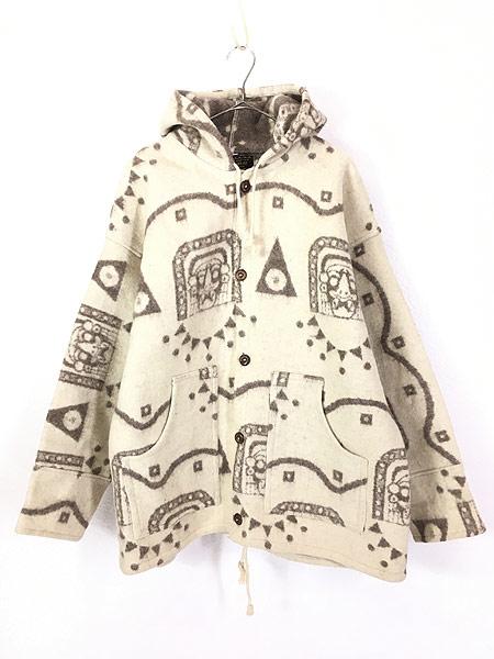 [1] 古着 エクアドル製 REY WEAR 民族 ネイティヴ ウール ブランケット パーカー ジャケット XL 古着