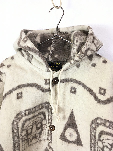 [2] 古着 エクアドル製 REY WEAR 民族 ネイティヴ ウール ブランケット パーカー ジャケット XL 古着