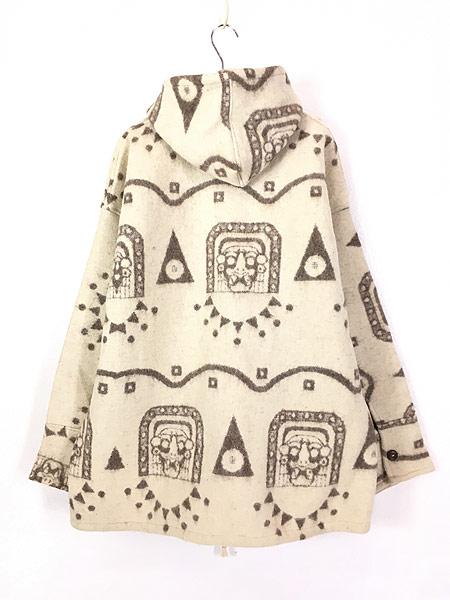 [4] 古着 エクアドル製 REY WEAR 民族 ネイティヴ ウール ブランケット パーカー ジャケット XL 古着