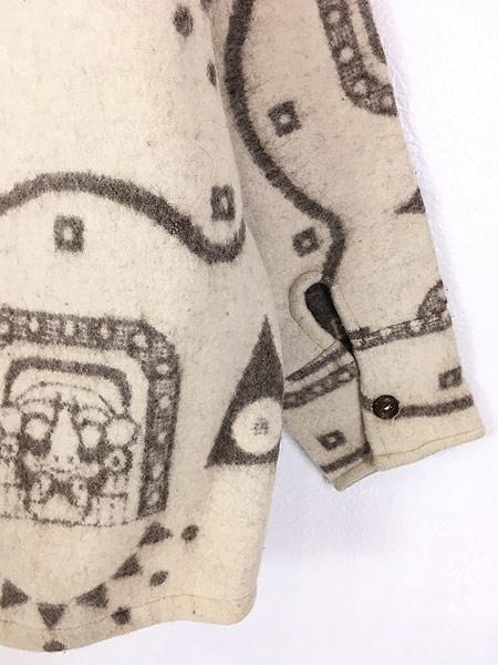 [6] 古着 エクアドル製 REY WEAR 民族 ネイティヴ ウール ブランケット パーカー ジャケット XL 古着