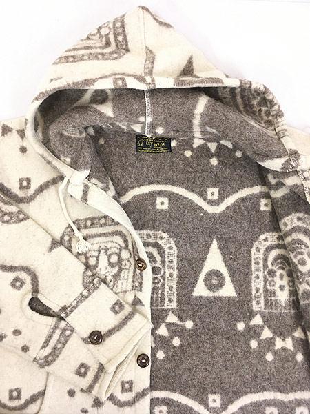 [7] 古着 エクアドル製 REY WEAR 民族 ネイティヴ ウール ブランケット パーカー ジャケット XL 古着