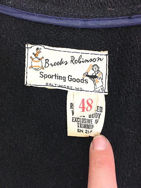 [7] 古着 60s Brooks Robinson ネーム 刺しゅう 襟付き メルトン ウール スタジャン ロンスタ 48 古着