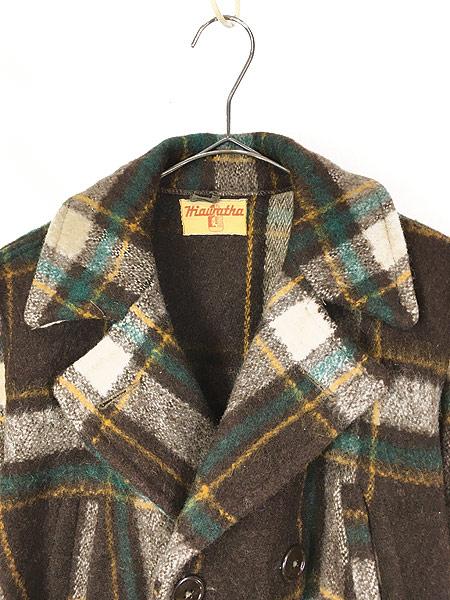 [2] 古着 50s Hiawatha Pコート タイプ チェック ウール スポーツ ジャケット コート 38位 古着