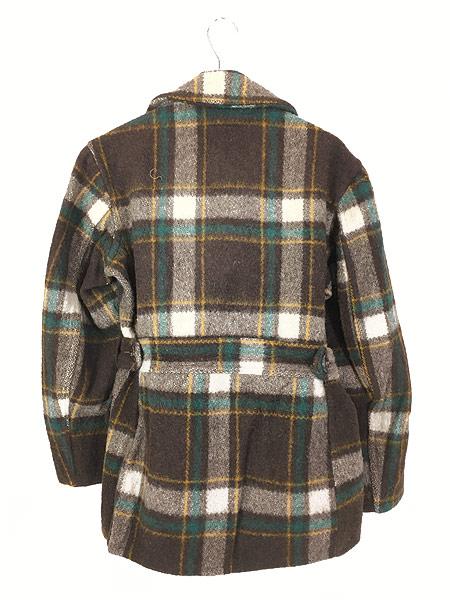 [5] 古着 50s Hiawatha Pコート タイプ チェック ウール スポーツ ジャケット コート 38位 古着