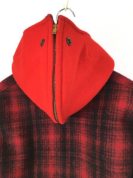 [5] 古着 50s WoolRich バッファロー チェック 2way ウール ハンティング ジャケット パーカー 44 古着