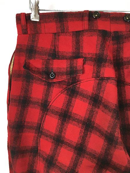 [4] 古着 60s WoolRich バッファロー チェック 防寒 ヘビー ウール Wニー ハンティング パンツ W32 L31 古着